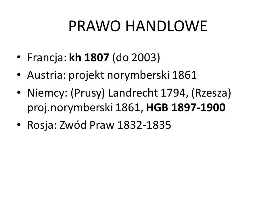 PRAWO HANDLOWE Francja: kh 1807 (do 2003) Austria: projekt norymberski 1861 Niemcy: (Prusy) Landrecht 1794, (Rzesza) proj.norymberski 1861, HGB 1897-1