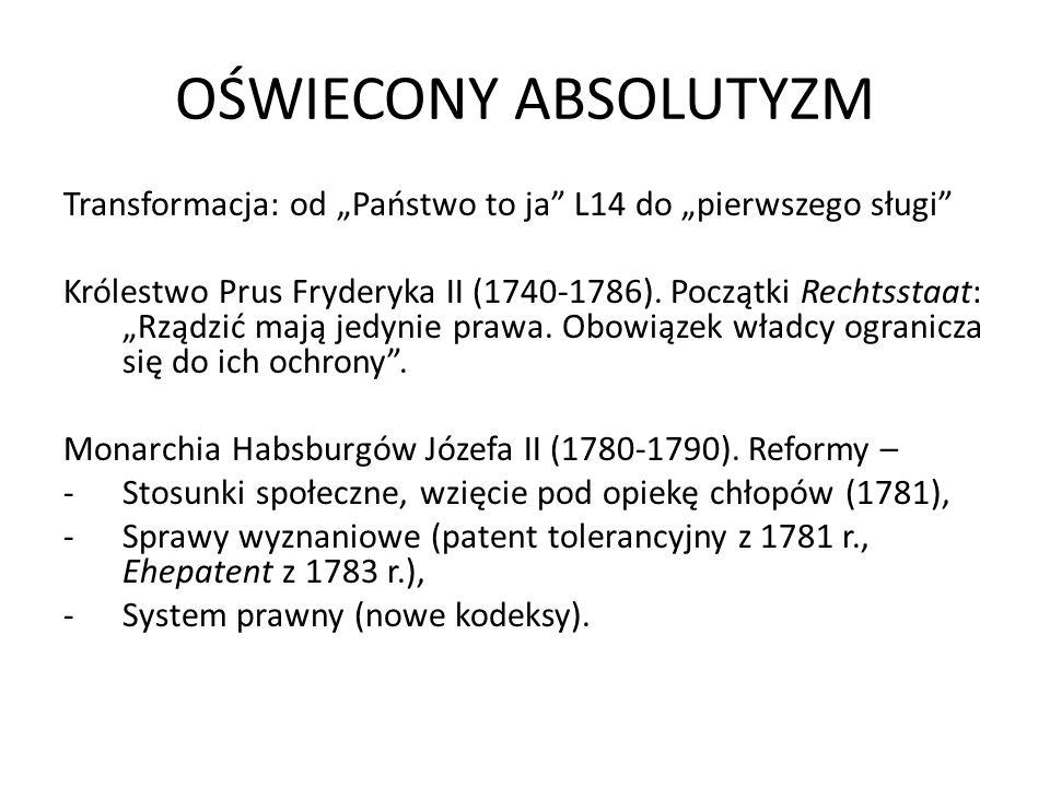 OŚWIECONY ABSOLUTYZM Transformacja: od Państwo to ja L14 do pierwszego sługi Królestwo Prus Fryderyka II (1740-1786). Początki Rechtsstaat: Rządzić ma