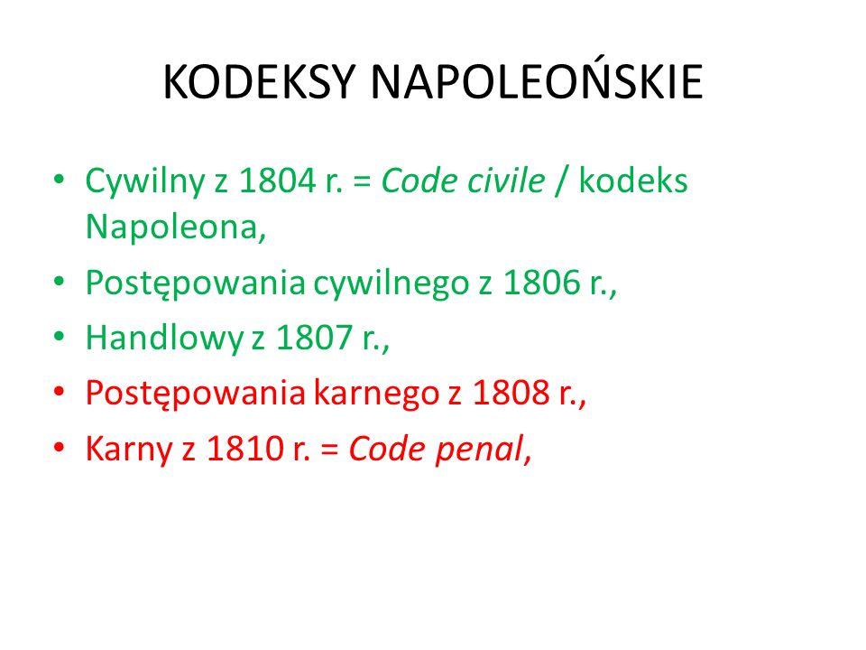 KODEKSY NAPOLEOŃSKIE Cywilny z 1804 r. = Code civile / kodeks Napoleona, Postępowania cywilnego z 1806 r., Handlowy z 1807 r., Postępowania karnego z