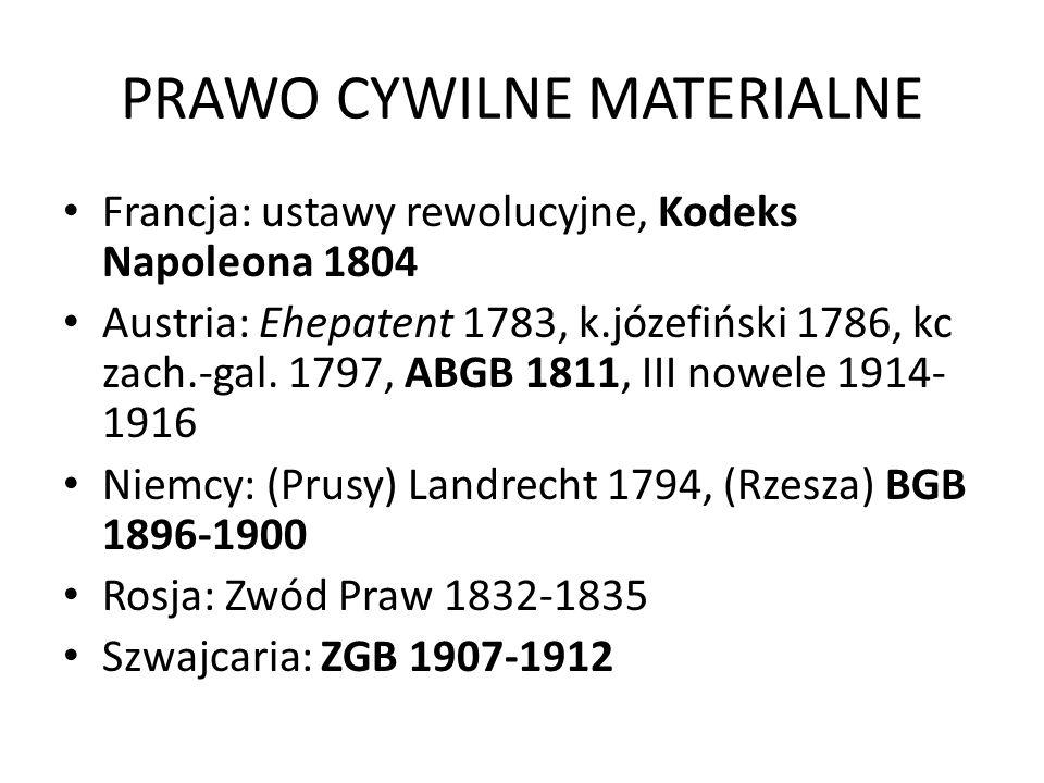 PRAWO CYWILNE MATERIALNE Francja: ustawy rewolucyjne, Kodeks Napoleona 1804 Austria: Ehepatent 1783, k.józefiński 1786, kc zach.-gal. 1797, ABGB 1811,