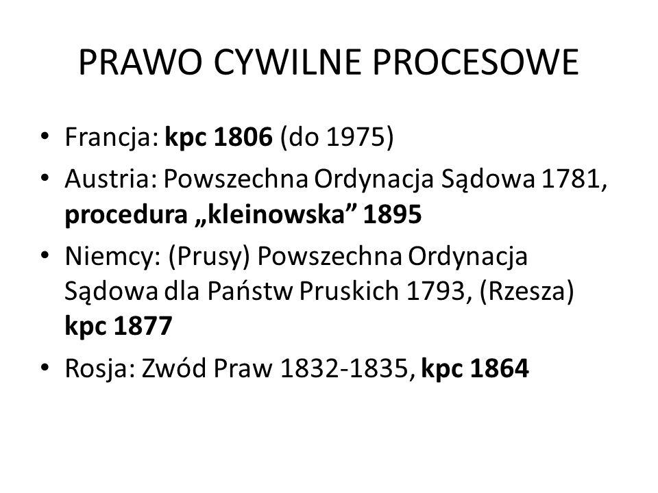 PRAWO CYWILNE PROCESOWE Francja: kpc 1806 (do 1975) Austria: Powszechna Ordynacja Sądowa 1781, procedura kleinowska 1895 Niemcy: (Prusy) Powszechna Or