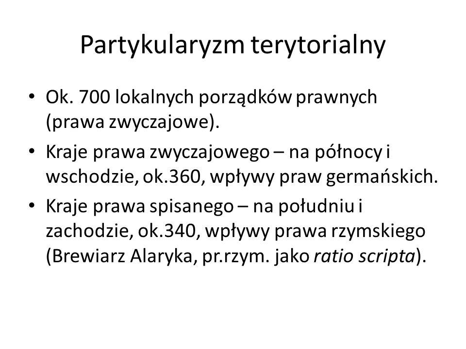 Partykularyzm terytorialny Ok. 700 lokalnych porządków prawnych (prawa zwyczajowe). Kraje prawa zwyczajowego – na północy i wschodzie, ok.360, wpływy