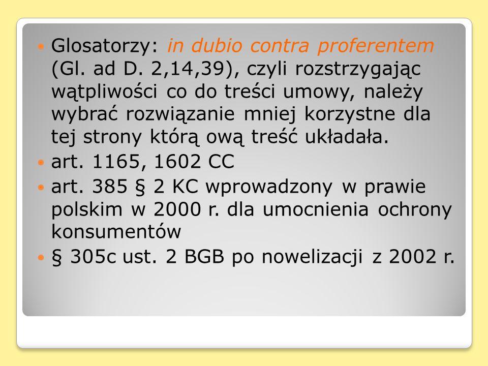 Glosatorzy: in dubio contra proferentem (Gl.ad D.