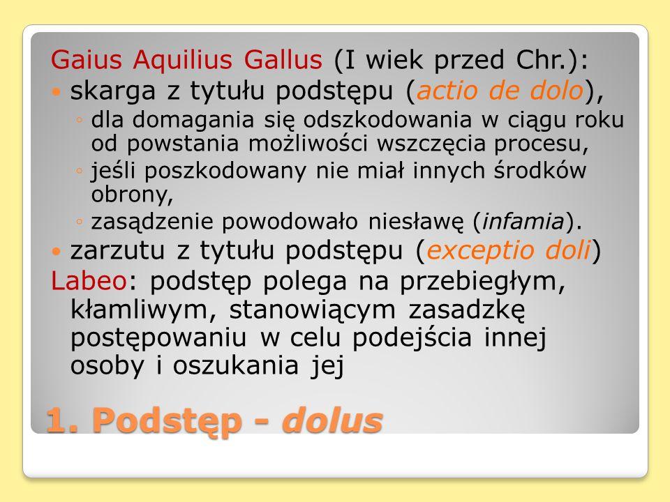 1. Podstęp - dolus Gaius Aquilius Gallus (I wiek przed Chr.): skarga z tytułu podstępu (actio de dolo), dla domagania się odszkodowania w ciągu roku o