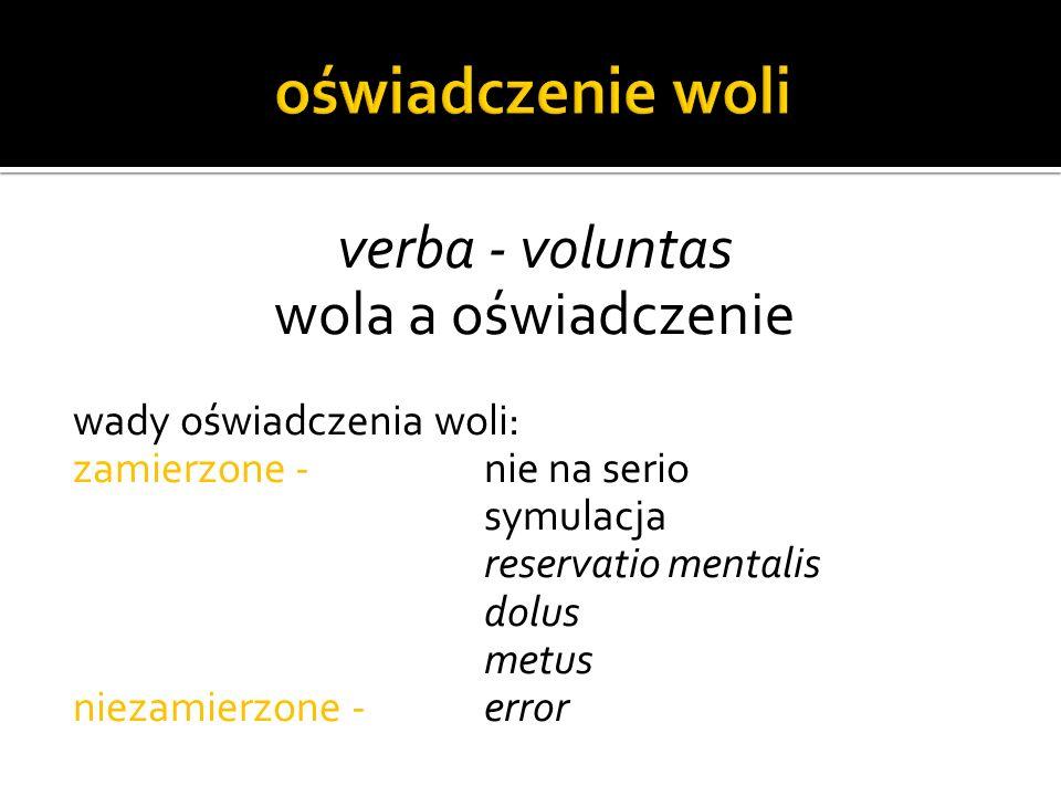 verba - voluntas wola a oświadczenie wady oświadczenia woli: zamierzone - nie na serio symulacja reservatio mentalis dolus metus niezamierzone - error