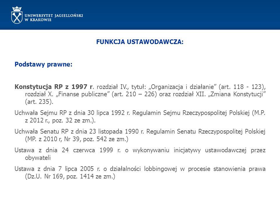 FUNKCJA USTAWODAWCZA: Podstawy prawne: Konstytucja RP z 1997 r. rozdział IV., tytuł: Organizacja i działanie (art. 118 - 123), rozdział X. Finanse pub
