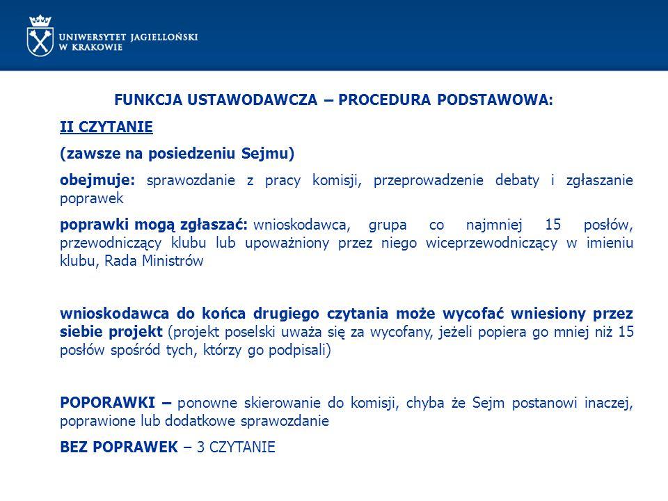 FUNKCJA USTAWODAWCZA – PROCEDURA PODSTAWOWA: II CZYTANIE (zawsze na posiedzeniu Sejmu) obejmuje: sprawozdanie z pracy komisji, przeprowadzenie debaty