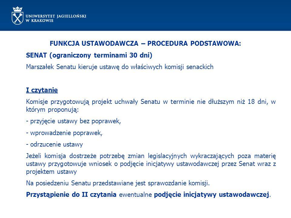 FUNKCJA USTAWODAWCZA – PROCEDURA PODSTAWOWA: SENAT (ograniczony terminami 30 dni) Marszałek Senatu kieruje ustawę do właściwych komisji senackich I cz