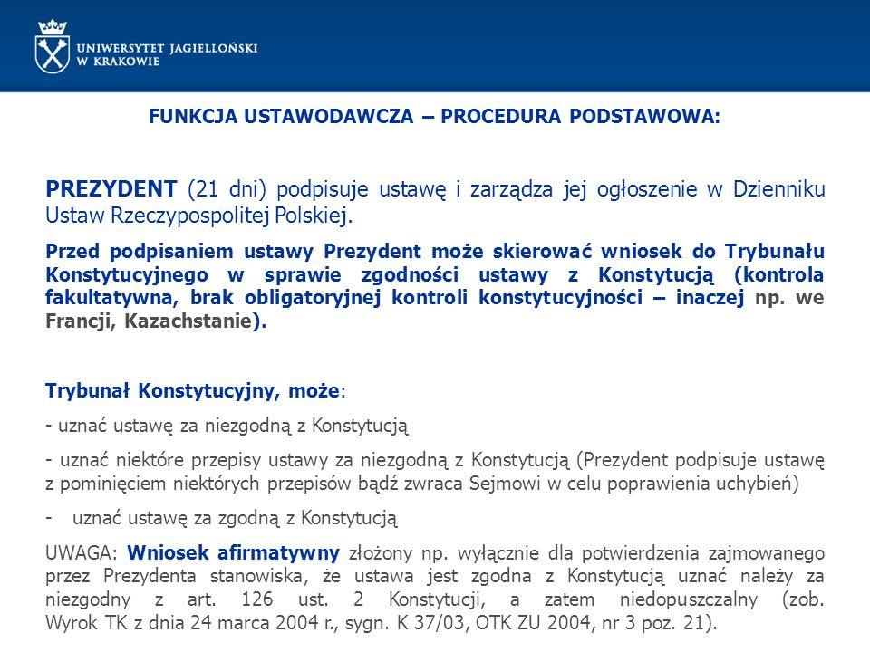 FUNKCJA USTAWODAWCZA – PROCEDURA PODSTAWOWA: PREZYDENT (21 dni) podpisuje ustawę i zarządza jej ogłoszenie w Dzienniku Ustaw Rzeczypospolitej Polskiej