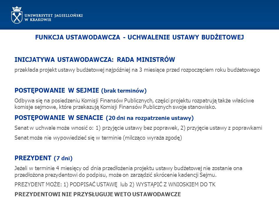 FUNKCJA USTAWODAWCZA - UCHWALENIE USTAWY BUDŻETOWEJ INICJATYWA USTAWODAWCZA: RADA MINISTRÓW przekłada projekt ustawy budżetowej najpóźniej na 3 miesią