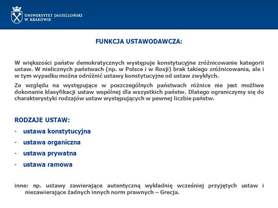 FUNKCJA USTAWODAWCZA – TRYB PILNY INICJATYWA USTAWODAWCZA: RADA MINISTRÓW może dotyczyć projektów ustaw z wyjątkiem: 1) ustaw podatkowych, 2) dotyczących wyboru Prezydenta RP, Sejmu, Senatu, organów samorządu terytorialnego, 3) ustaw regulujących ustrój i właściwość władz publicznych, 4) kodeksów POSTĘPOWANIE W SEJMIE (brak terminów) I CZYTANIE: posiedzenie plenarne lub posiedzenie komisji PRZED II CZYTANIEM RADA MINISTRÓW MOŻE WYCOFAĆ KLAUZULĘ PILNOŚCI MARSZAŁEK SEJMU nie później niż w ciągu 3 dni przesyła uchwaloną ustawę Marszałkowi Senatu i Prezydentowi RP POSTĘPOWANIE W SENACIE (14 dni na rozpatrzenie ustawy) UPRAWNIENIA JAK W TRYBIE ZWYKŁYM Sejm rozpatruje stanowisko Senatu na najbliższym posiedzeniu po jego doręczeniu (możliwość powołania podkomisji) PREZYDENT (7 dni) UPRAWNIENIA JAK W TRYBIE ZWYKŁYM
