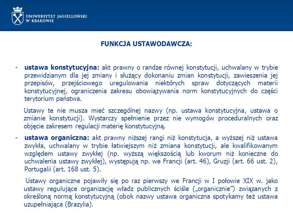 FUNKCJA USTAWODAWCZA – PROCEDURA PODSTAWOWA: II CZYTANIE (zawsze na posiedzeniu Sejmu) obejmuje: sprawozdanie z pracy komisji, przeprowadzenie debaty i zgłaszanie poprawek poprawki mogą zgłaszać: wnioskodawca,grupa co najmniej 15 posłów, przewodniczący klubu lub upoważniony przez niego wiceprzewodniczący w imieniu klubu, Rada Ministrów wnioskodawca do końca drugiego czytania może wycofać wniesiony przez siebie projekt (projekt poselski uważa się za wycofany, jeżeli popiera go mniej niż 15 posłów spośród tych, którzy go podpisali) POPORAWKI – ponowne skierowanie do komisji, chyba że Sejm postanowi inaczej, poprawione lub dodatkowe sprawozdanie BEZ POPRAWEK – 3 CZYTANIE