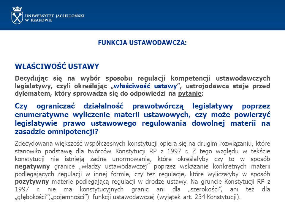 FUNKCJA USTAWODAWCZA: WYŁĄCZNOŚĆ USTAWY Ustrojodawca zdecydował się jednak na wyliczenie określonych spraw (dziedzin) wymagających ustawowego określenia pozostawiając przy tym możliwość szczegółowego rozwinięcia danego zagadnienia na drodze poza ustawowej (akty wykonawcze wydane z upoważnienia ustawy).