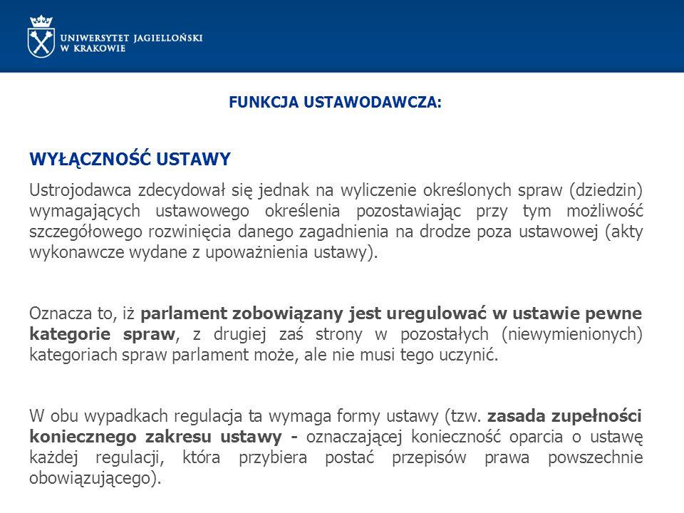 FUNKCJA USTAWODAWCZA: Podstawy prawne: Konstytucja RP z 1997 r.
