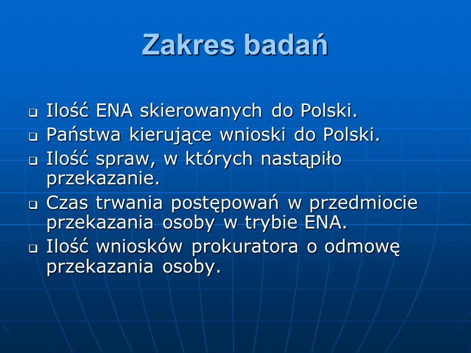 Wnioski końcowe Do przekazania osoby w wykonaniu ENA dochodzi mniej więcej w połowie spraw zainicjowanych wnioskiem o przekazanie kierowanym do polskich organów sądowych, dzieje się tak po pierwsze dlatego, że nie zawsze udaje się ustalić miejsce pobytu osoby wobec której wydano ENA, a po wtóre ze względu na podejmowanie przez sądy decyzji o odmowie wykonania ENA.