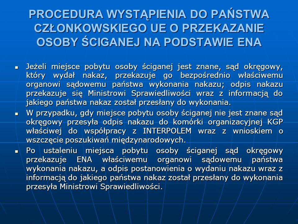 Właściwy miejscowo sąd okręgowy na wniosek prokuratora może wydać ENA W razie podejrzenia, że osoba ścigana za przestępstwo popełnione na terytorium Rzeczypospolitej Polskiej przebywa na terytorium państwa członkowskiego Unii Europejskiej.