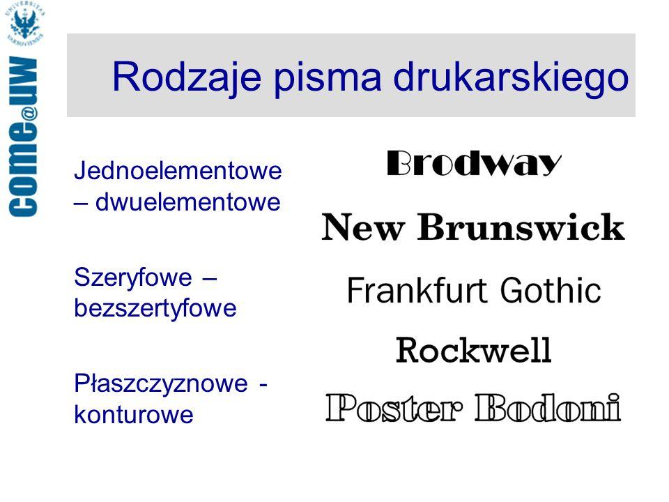 Rodzaje pisma drukarskiego Jednoelementowe – dwuelementowe Szeryfowe – bezszertyfowe Płaszczyznowe - konturowe