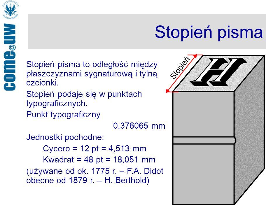 Stopień pisma Stopień pisma to odległość między płaszczyznami sygnaturową i tylną czcionki.