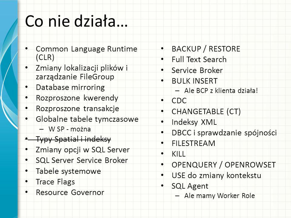 Co nie działa… Common Language Runtime (CLR) Zmiany lokalizacji plików i zarządzanie FileGroup Database mirroring Rozproszone kwerendy Rozproszone tra