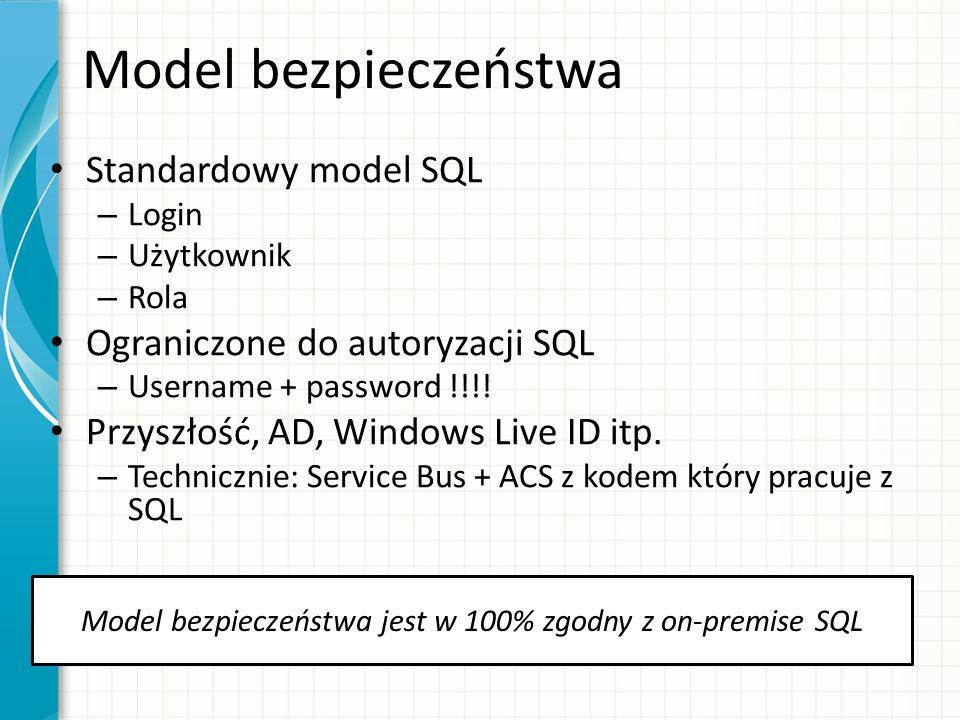 Model bezpieczeństwa Standardowy model SQL – Login – Użytkownik – Rola Ograniczone do autoryzacji SQL – Username + password !!!! Przyszłość, AD, Windo