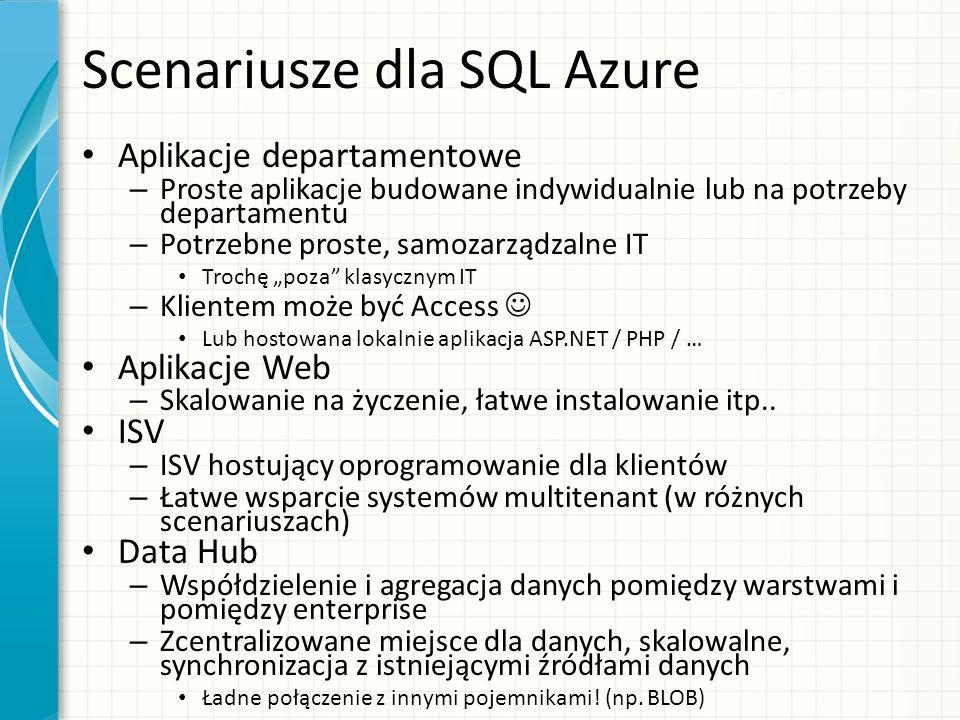 Scenariusze dla SQL Azure Aplikacje departamentowe – Proste aplikacje budowane indywidualnie lub na potrzeby departamentu – Potrzebne proste, samozarz