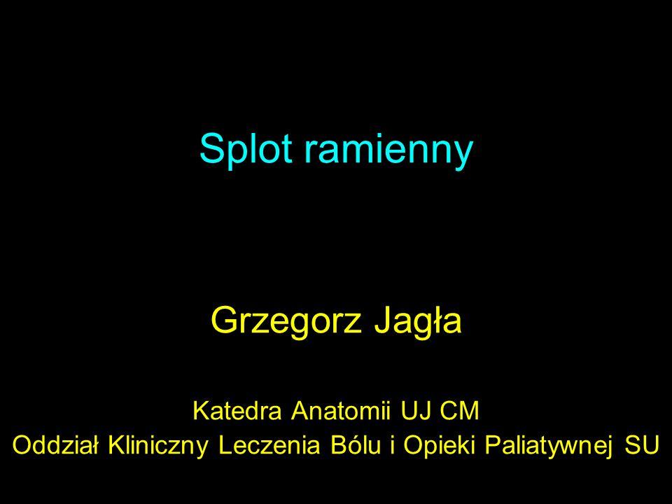 Splot ramienny Grzegorz Jagła Katedra Anatomii UJ CM Oddział Kliniczny Leczenia Bólu i Opieki Paliatywnej SU