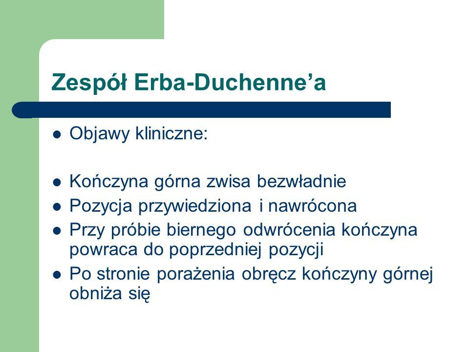 Zespół Erba-Duchennea Objawy kliniczne: Kończyna górna zwisa bezwładnie Pozycja przywiedziona i nawrócona Przy próbie biernego odwrócenia kończyna pow