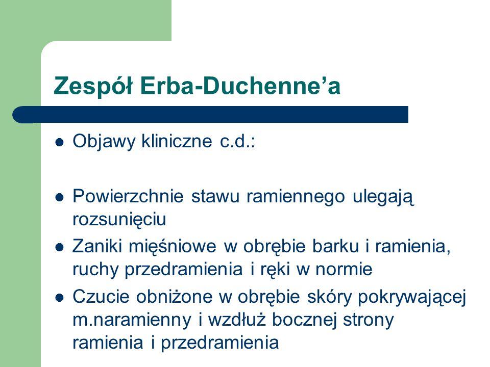 Zespół Erba-Duchennea Objawy kliniczne c.d.: Powierzchnie stawu ramiennego ulegają rozsunięciu Zaniki mięśniowe w obrębie barku i ramienia, ruchy prze
