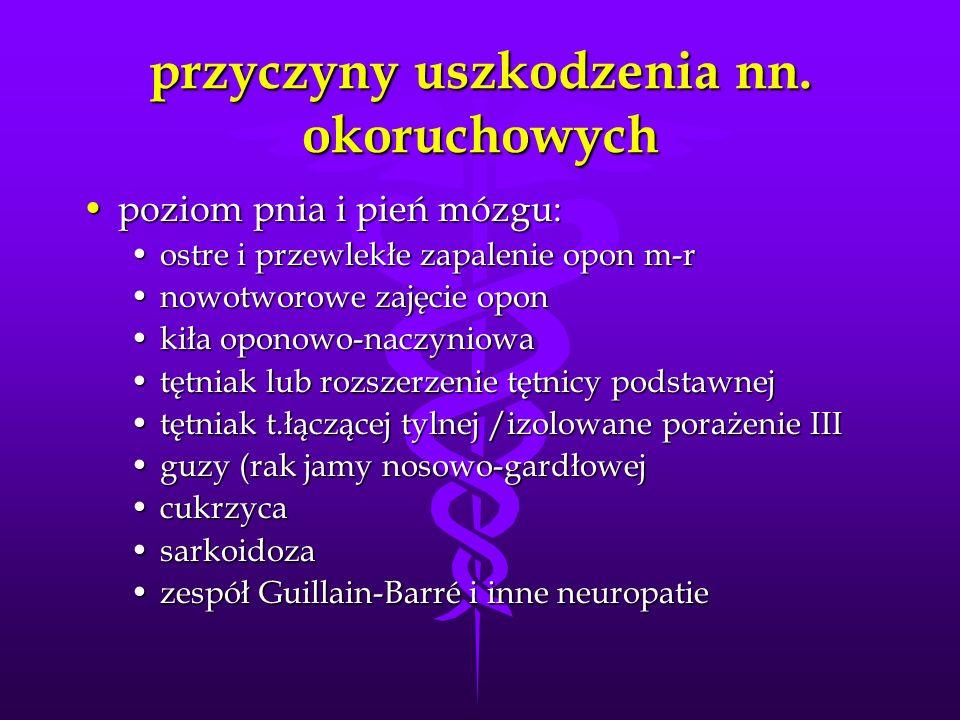 przyczyny uszkodzenia nn. okoruchowych poziom pnia i pień mózgu:poziom pnia i pień mózgu: ostre i przewlekłe zapalenie opon m-rostre i przewlekłe zapa