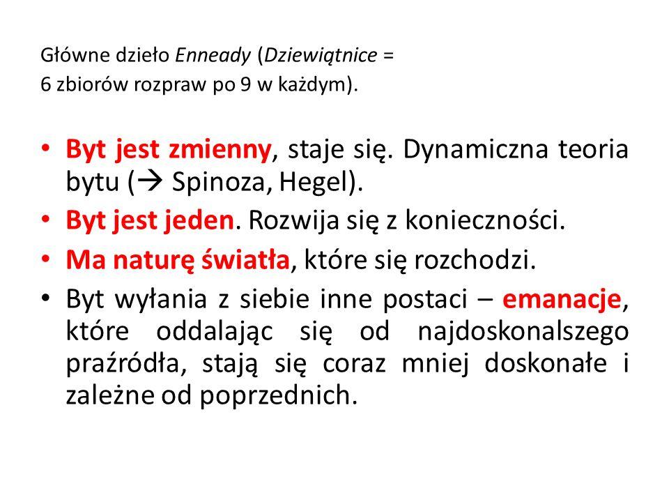 Główne dzieło Enneady (Dziewiątnice = 6 zbiorów rozpraw po 9 w każdym). Byt jest zmienny, staje się. Dynamiczna teoria bytu ( Spinoza, Hegel). Byt jes