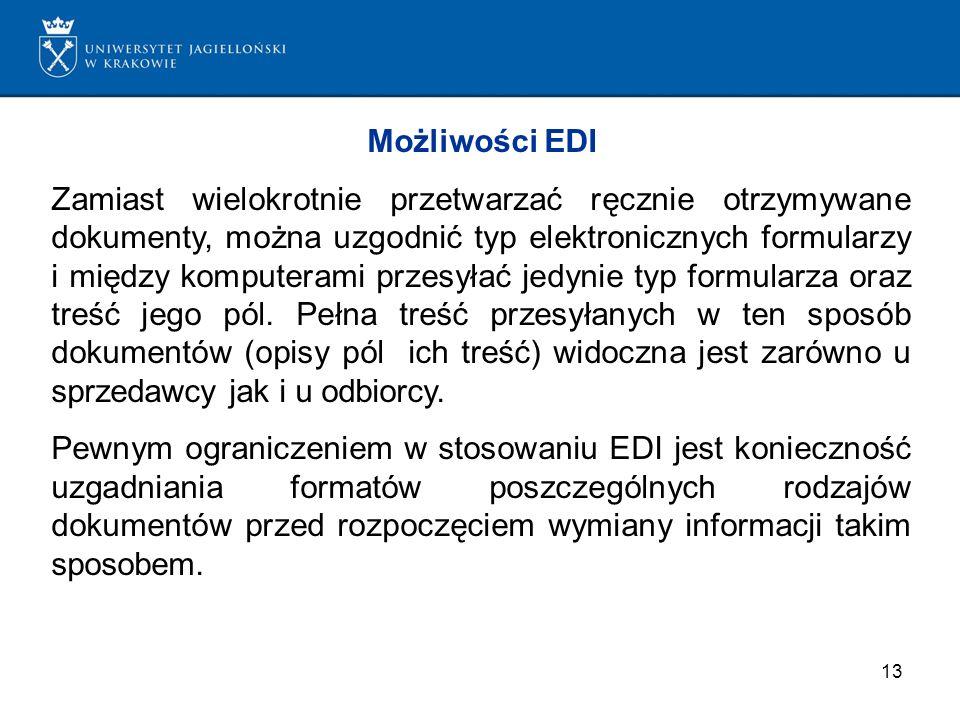 13 Możliwości EDI Zamiast wielokrotnie przetwarzać ręcznie otrzymywane dokumenty, można uzgodnić typ elektronicznych formularzy i między komputerami p