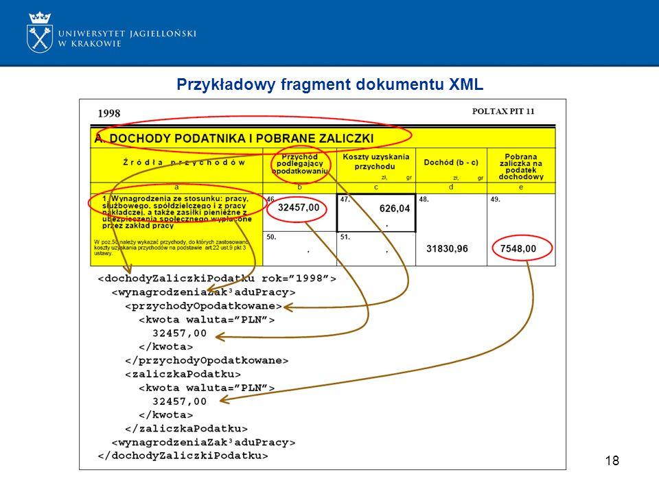 18 Przykładowy fragment dokumentu XML