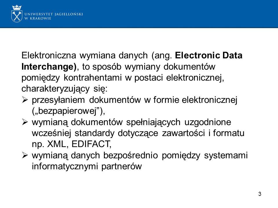 3 Elektroniczna wymiana danych (ang. Electronic Data Interchange), to sposób wymiany dokumentów pomiędzy kontrahentami w postaci elektronicznej, chara