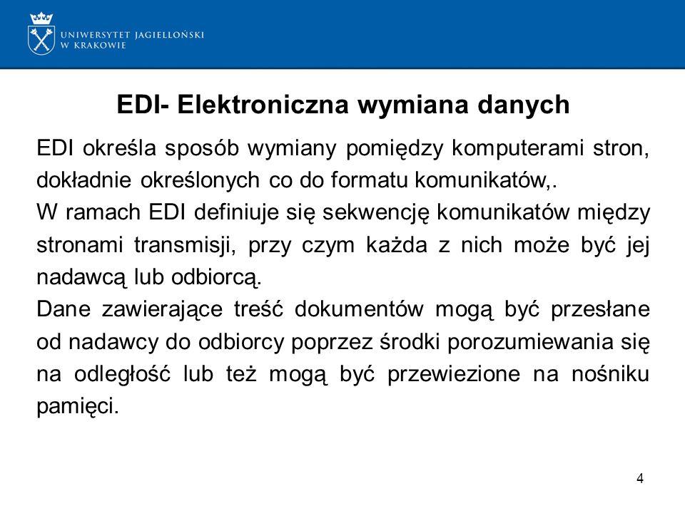 4 EDI- Elektroniczna wymiana danych EDI określa sposób wymiany pomiędzy komputerami stron, dokładnie określonych co do formatu komunikatów,. W ramach