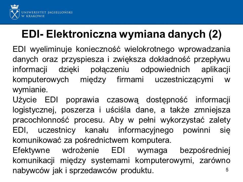 5 EDI- Elektroniczna wymiana danych (2) EDI wyeliminuje konieczność wielokrotnego wprowadzania danych oraz przyspiesza i zwiększa dokładność przepływu