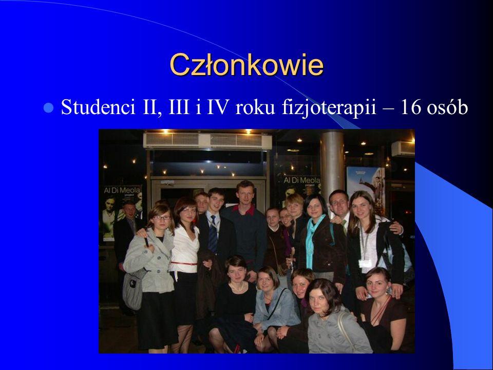 Członkowie Studenci II, III i IV roku fizjoterapii – 16 osób