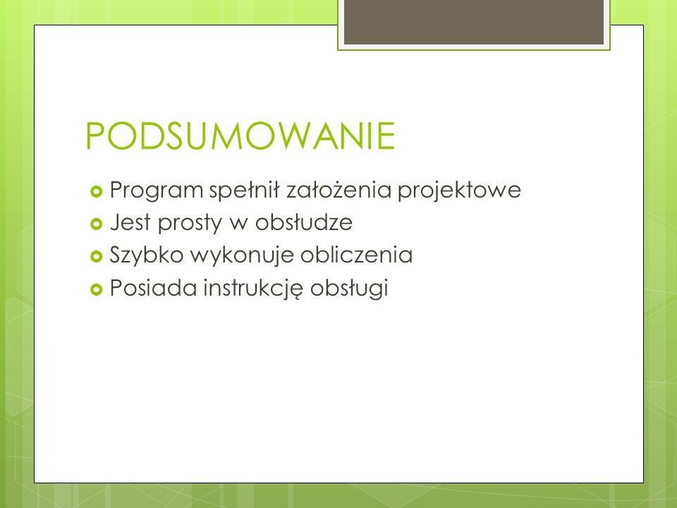 PODSUMOWANIE Program spełnił założenia projektowe Jest prosty w obsłudze Szybko wykonuje obliczenia Posiada instrukcję obsługi