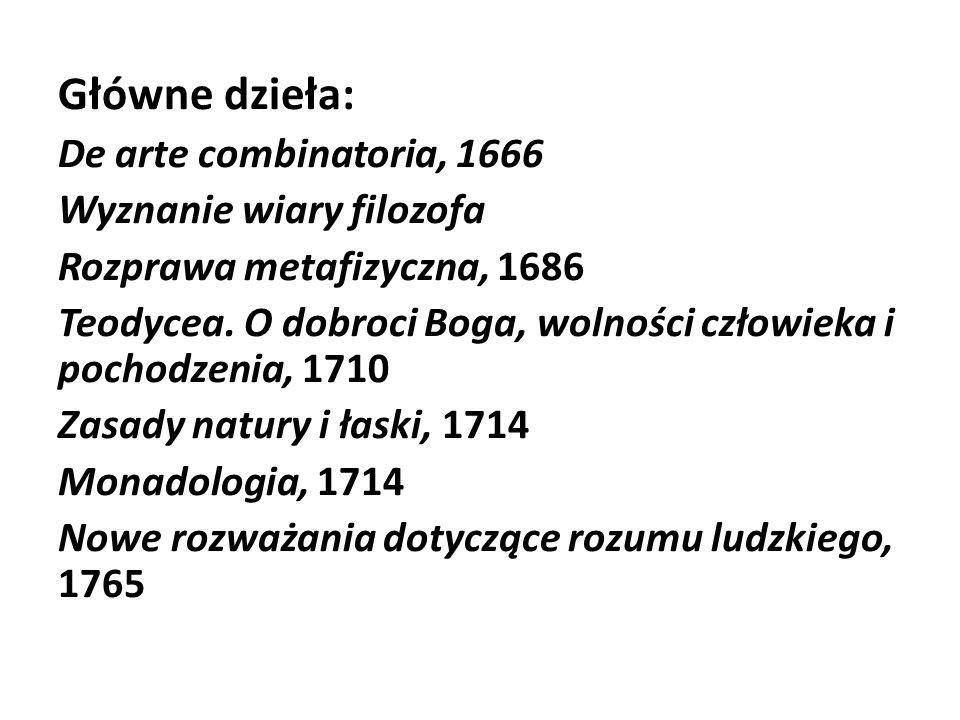 Główne dzieła: De arte combinatoria, 1666 Wyznanie wiary filozofa Rozprawa metafizyczna, 1686 Teodycea. O dobroci Boga, wolności człowieka i pochodzen