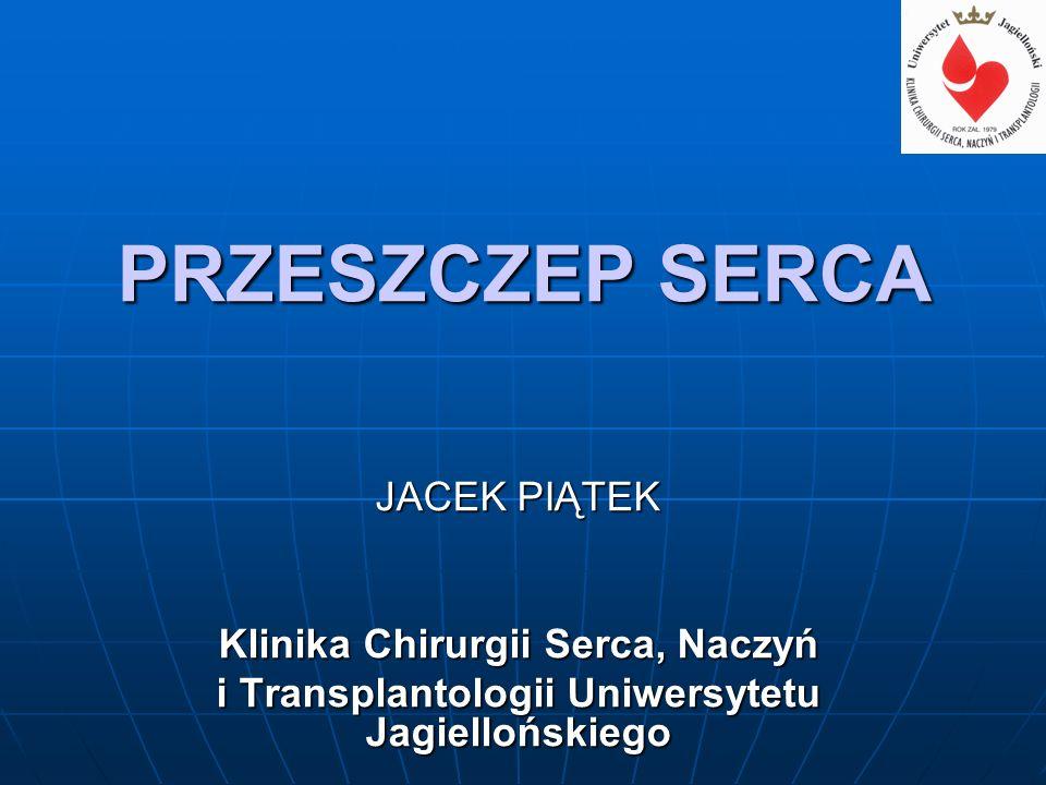 PRZESZCZEP SERCA JACEK PIĄTEK Klinika Chirurgii Serca, Naczyń i Transplantologii Uniwersytetu Jagiellońskiego