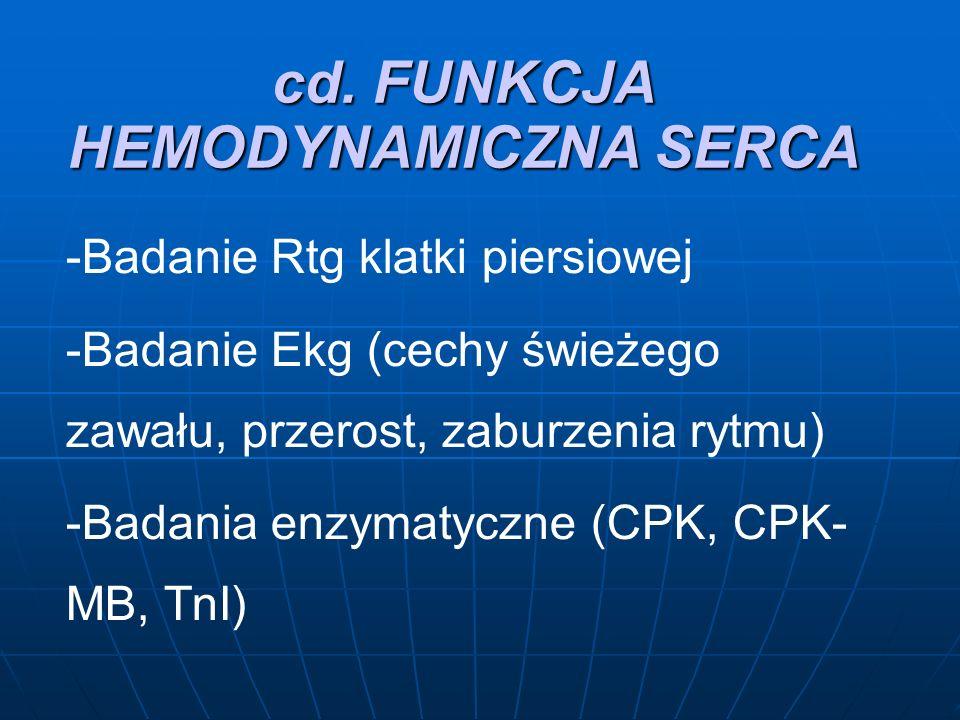 cd. FUNKCJA HEMODYNAMICZNA SERCA -Badanie Rtg klatki piersiowej -Badanie Ekg (cechy świeżego zawału, przerost, zaburzenia rytmu) -Badania enzymatyczne