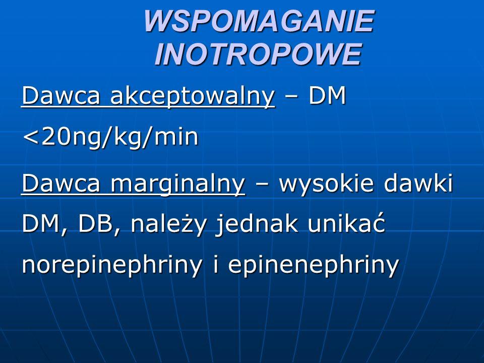 WSPOMAGANIE INOTROPOWE Dawca akceptowalny – DM <20ng/kg/min Dawca marginalny – wysokie dawki DM, DB, należy jednak unikać norepinephriny i epinenephriny