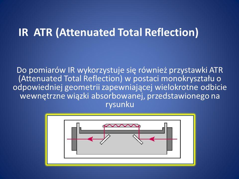 Do pomiarów IR wykorzystuje się również przystawki ATR (Attenuated Total Reflection) w postaci monokryształu o odpowiedniej geometrii zapewniającej wi