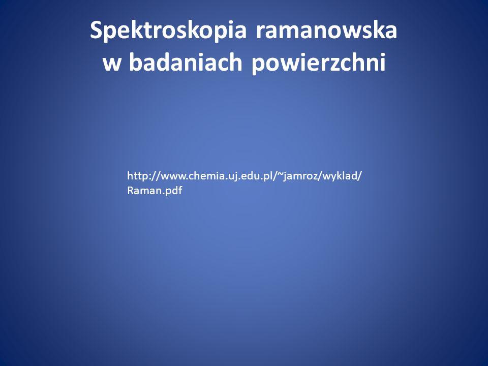 Spektroskopia ramanowska w badaniach powierzchni http://www.chemia.uj.edu.pl/~jamroz/wyklad/ Raman.pdf