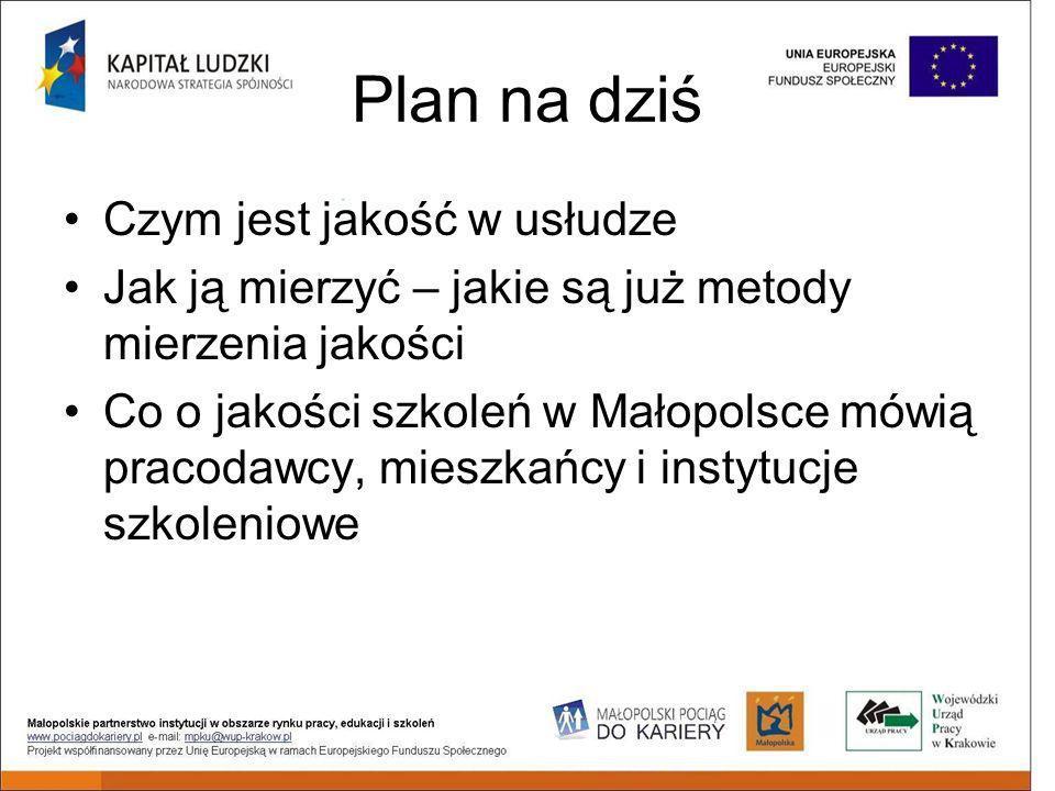 Plan na dziś Czym jest jakość w usłudze Jak ją mierzyć – jakie są już metody mierzenia jakości Co o jakości szkoleń w Małopolsce mówią pracodawcy, mieszkańcy i instytucje szkoleniowe