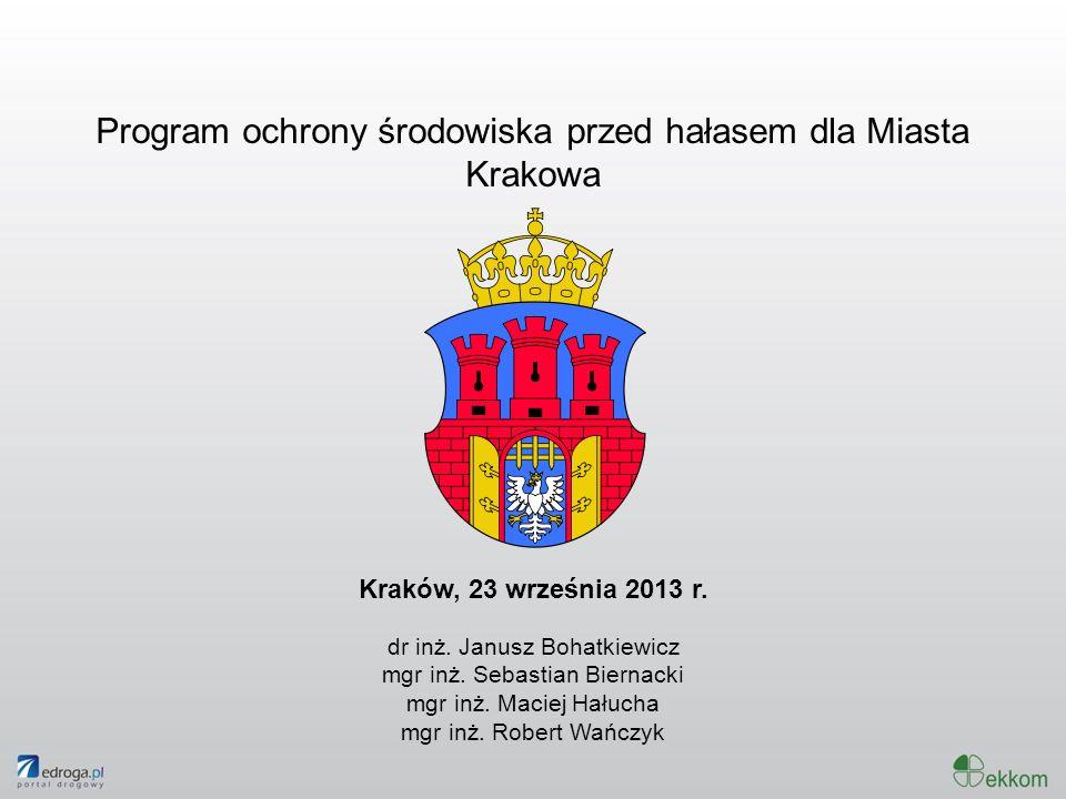 Program ochrony środowiska przed hałasem dla Miasta Krakowa Kraków, 23 września 2013 r. dr inż. Janusz Bohatkiewicz mgr inż. Sebastian Biernacki mgr i