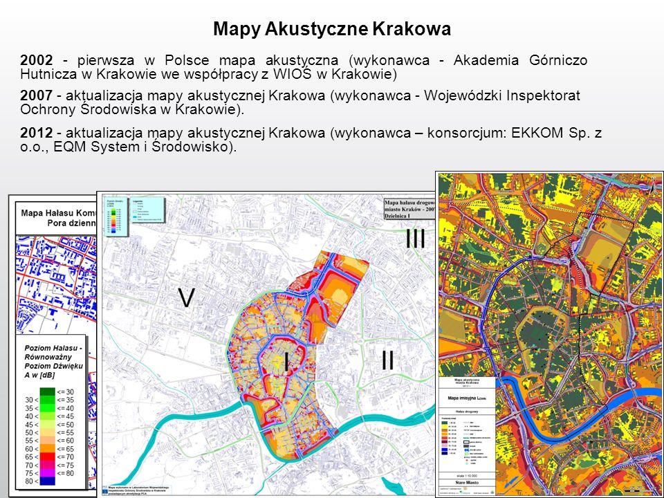 2002 - pierwsza w Polsce mapa akustyczna (wykonawca - Akademia Górniczo Hutnicza w Krakowie we współpracy z WIOŚ w Krakowie) 2007 - aktualizacja mapy