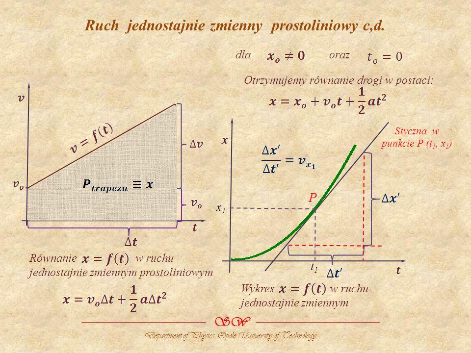 Ruch jednostajnie zmienny prostoliniowy c,d. SW Department of Physics, Opole University of Technology Równanie w ruchu jednostajnie zmiennym prostolin