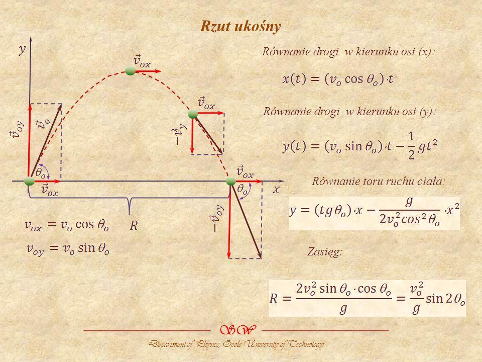 Rzut ukośny SW Department of Physics, Opole University of Technology Równanie drogi w kierunku osi (x): Równanie drogi w kierunku osi (y): Równanie toru ruchu ciała: Zasięg: