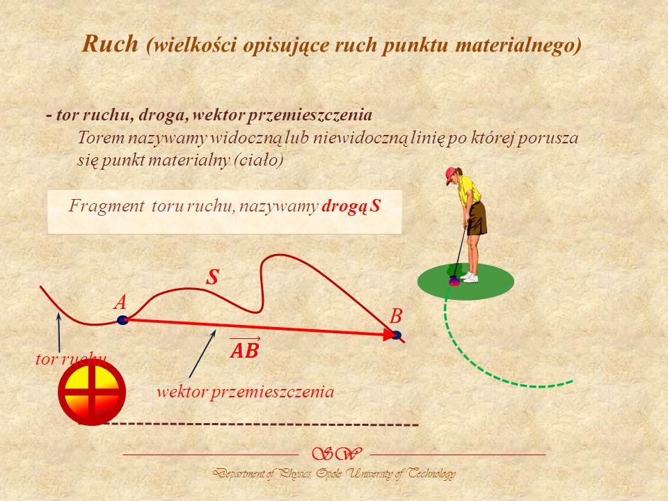 SW Department of Physics, Opole University of Technology Ruch (wielkości opisujące ruch punktu materialnego) - tor ruchu, droga, wektor przemieszczenia Torem nazywamy widoczną lub niewidoczną linię po której porusza się punkt materialny (ciało) Fragment toru ruchu, nazywamy drogą S tor ruchu A B S wektor przemieszczenia