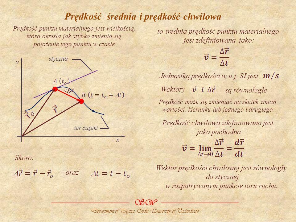 Prędkość średnia i prędkość chwilowa tor cząstki x y styczna Prędkość punktu materialnego jest wielkością, która określa jak szybko zmienia się położe